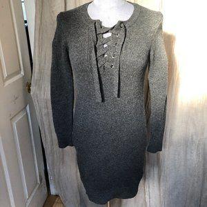 Madewell Charcoal gray lace up sweater dress XXS